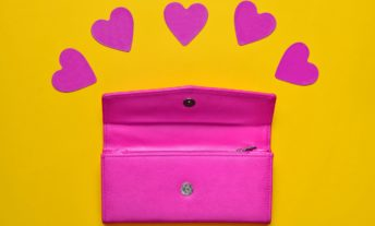 Leather purse with hearts